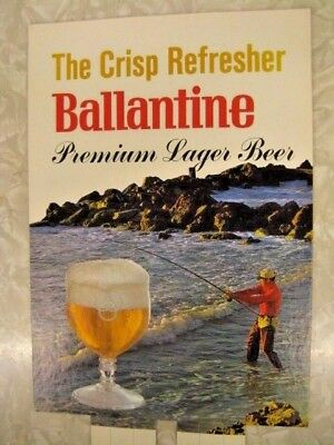 LOT OF 3 RARE VINTAGE NOS 1960s BALLANTINE BEER SIGN SURF FISHING SPORTSMAN POS