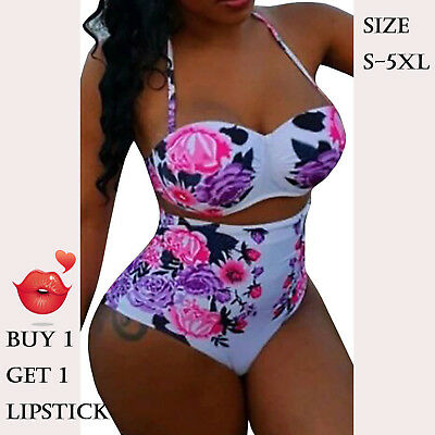 Women Swimwear Floral 2 Pieces Summer Beach Push Up Slip Triangle Hot Plus Size