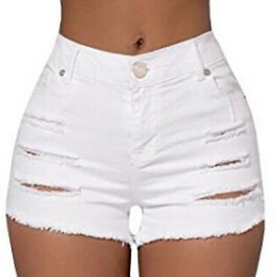 Women Shorts Jeans Ripped Hign Waist Mini Denim Summer Hot Party Beach Pants US
