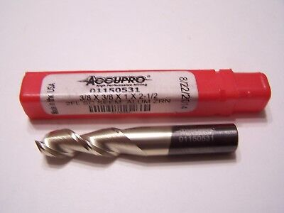 "(1) ACCUPRO SOLID CARBIDE 2 FLUTE END MILL 3/8 x 3/8 x 1 x 2-1/2"" ZrN COATED NEW"