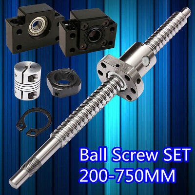 Antibacklash SFU1605 Ball Screw 200-750mm + BK/BF12 + 2 6.35*10mm Couplers Set