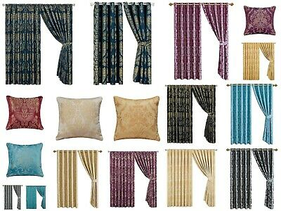 Jacquard Pencil Pleat / Ring Top Eyelet Lined Pair Curtains / Cushion Cover