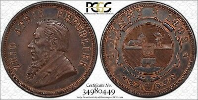 1892 South Africa AE Penny BN PCGS AU Details (Cleaned)