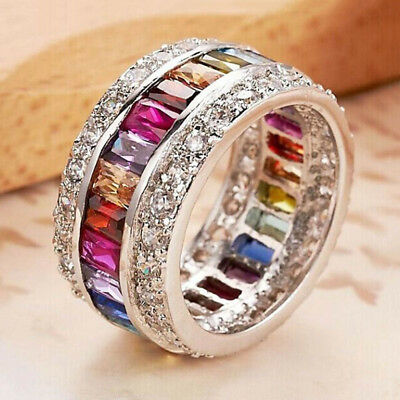 Fashion Women Silver Jewelry Double Row Rhinestone Multicolor Gemstone Rings