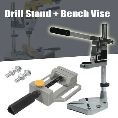 Electric Power Drill Press Stand Bench Clamp Hole Guide + Bench Drill Press Vise