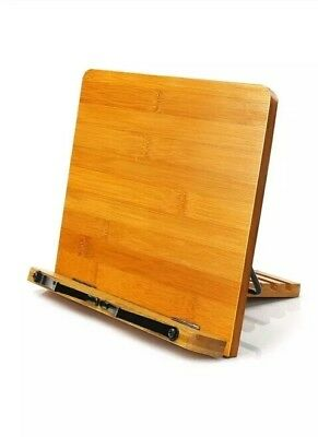 Bamboo Book Stand,HENGSHENG Adjustable Book Holder Tray and Page Paper Clips-Coo