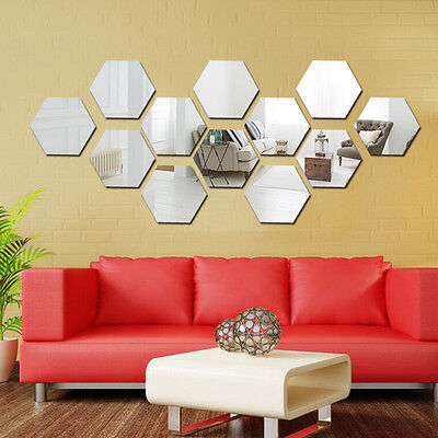12pcs 3D miroir hexagone vinyle amovible Wall Sticker autocollant Home Decor art