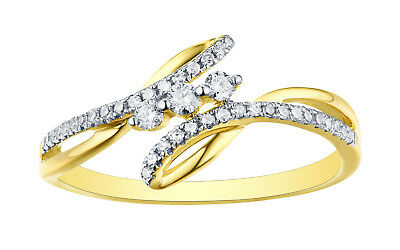 18k Gold Prism Jewel Natural G-H//I1 Round Diamond Delicate Twisted Ring