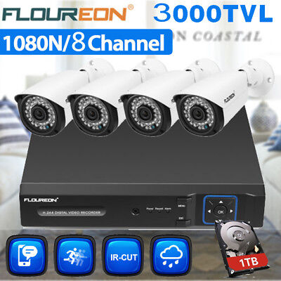 1TB 8CH 1080N DVR Video Recorder 3000TVL Camera Home CCTV Security System Kit AU
