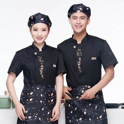 Uniform Chef Jacket Coat Kitchen Men Women Short Sleeve Cooker Work Restaurant