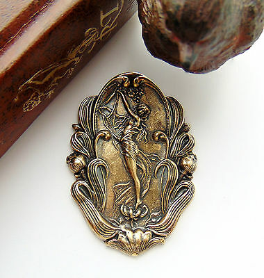ANTIQUE BRASS Fairy - Lily Nymph Goddess Stamping Woman Oxidized Finding (C-305)