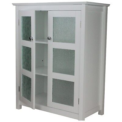 Floor Cabinet with 2-Glass Door GORGEOUS Home Decor Double Plated Knobs White