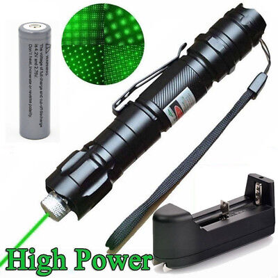 Professional 1MW 532NM 10 Miles High Power Green Laser Pointer Pen+18650 Battery