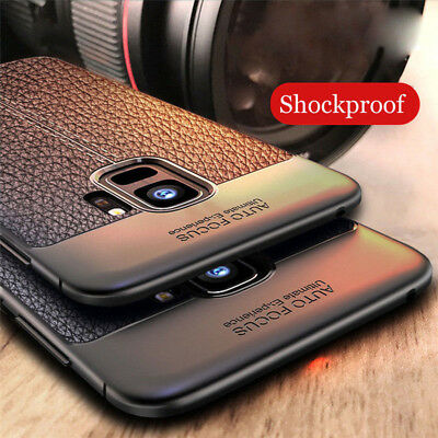 For Samsung Galaxy A6 A8+ S9 S10 Plus Shockproof Rubber Leather Back Case Cover