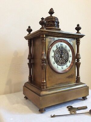 ORIGINAL FRENCH MANTLE CLOCK, c 1880s, solid brass case, bronzed finished in GWO