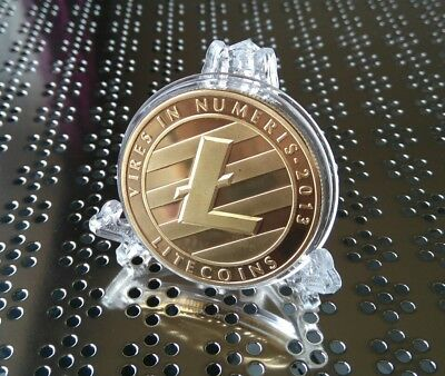 Litecoin Gold Crypto Coin Collectable Novelty Gift Plus Elegant Display Stand x1