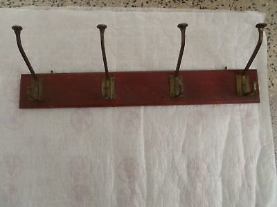 Antique Coat Rack Wall Hanging Hats 4 Brass hooks 1920