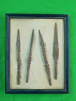 Antique Old Africa African Set of 4 Metal Arrow w/ box