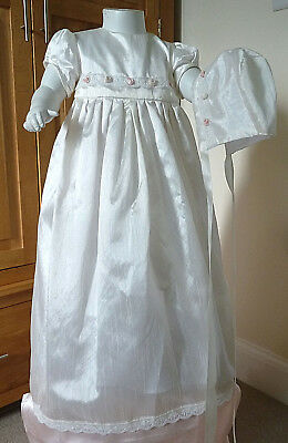 """Silk baby gown & bonnet set, 3-6 month baby or 18"""" - 24"""" reborn baby doll"""