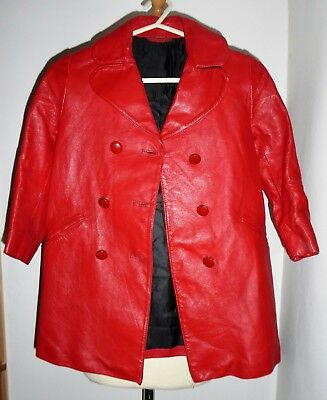 Rare Vintage 60S Childs Red Leather Coat Approx Age 7 8 Mod Gogo