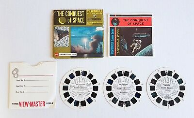 GAF Viewmaster THE CONQUEST OF SPACE - 21 Stereo Pictures - with Booklet