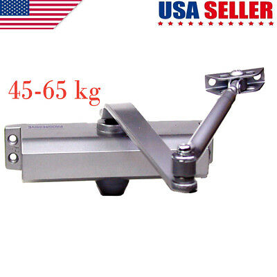 45-65KG Silver Aluminum Commercial Door Closer Two Independent Valves Control US