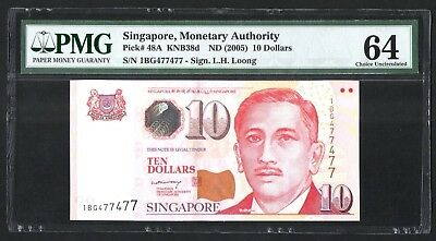 Singapore Portrait Series $10 Paper Banknote Repeater Nos 1BG 477477 LHL PMG 64
