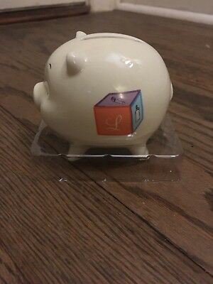 Baby Piggy Bank 'L' specific Initial babyblock design Coin Child's Newborn Gift