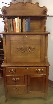 Antique Restored DROP FRONT OAK SECRETARY Desk Cubbies Drawers Orig KEY HARDWARE