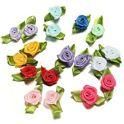 200pcs Mix Exquisite Satin Rose Flower Ribbon Sewing Wedding Appliques Decor SS