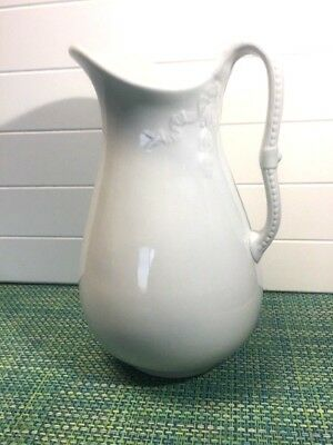 "Vintage J & G Meakin White Ironstone China Hanley England Pitcher 12"" Antique"