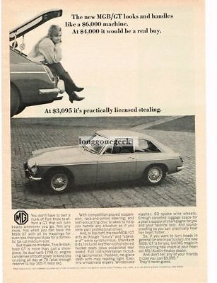 1966 MGB GT  Pretty Girl Sitting In Trunk Boot Vtg Print Ad