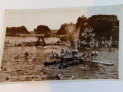 Vintage Postcard Dunbar Swimming Pool Scotland 1930s Unposted waterbathing Scene