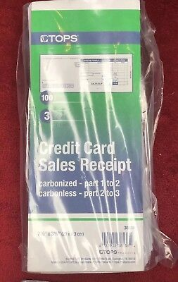 Tops Credit Card Sales Slips Receipts 3 Part Carbonless 7-7/8 X 3-1/4  1 packag