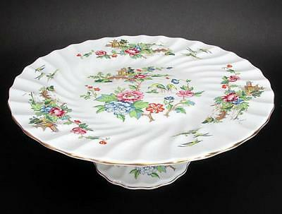 Vintage Crown Staffordshire Pagoda Hand Painted Pedestal Cake Stand