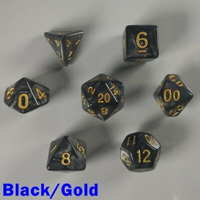 Pearl Poly 7 Dice RPG Set Black Gold Pathfinder 5e Dungeons Dragons D&D DND HD