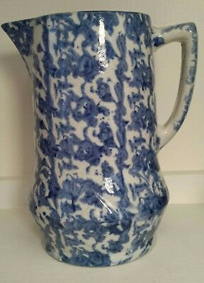 ANTIQUE 19thc BLUE & WHITE SPONGEWARE STONEWARE SPATTERWARE MILK PITCHER