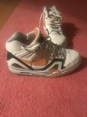 Nike Air Jordan High Top Sneakers White and Orange Men's Size 10