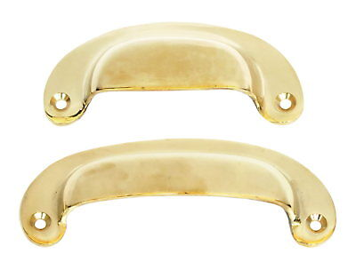 Solid Brass Plain Drawer Pull  - kitchen cupboard door cup handle 10cm or 12cm