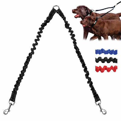 2 Way Double Dog Leads Elastic Bungee Pet Puppy Leash Anti Shock for Two Dogs