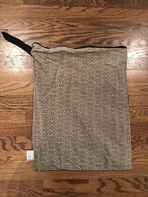 Planet Wise Large Wet Bag Zipper Top Gray scroll EUC