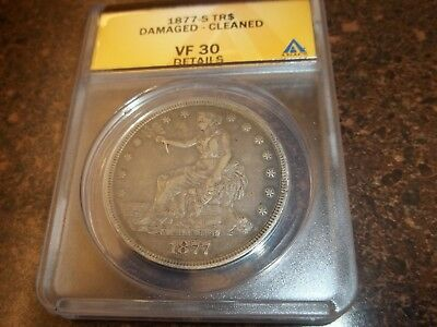 US 1877 S ANACS Certified Trade Dollar, VF30 details