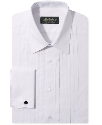 $276 MICHELSONS Men SLIM-FIT FRENCH-CUFF WHITE TUXEDO DRESS SHIRT SIZE 17 34/35