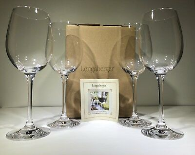 Longaberger Crystal Stemware Set of 4 White Wine Glasses Made in Germany EUC