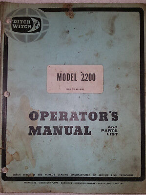 DITCH WITCH model 2200 TRENCHER OPERATORS MANUAL & PARTS LIST >FREE SHIPPING!<