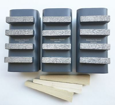 New 3PK 60/80 Grit Diamond Grinding Block for EDCO,STOW,HUSQ.&Gen. Grinders
