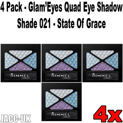 New Job Lot 4 Pack RIMMEL Glam Eyes Quad Eye Shadow, Shade 021, State Of Grace