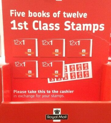 NEW Royal Mail 1st Class Small Stamps - 5 Books of 12 - 100% Genuine