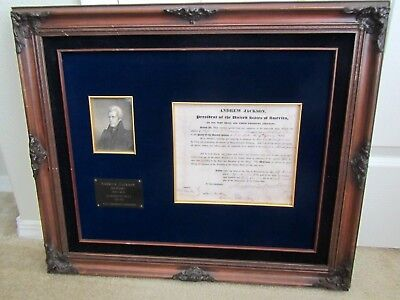 Us President Andrew Jackson Signed 1833 Naval Appointment Document Signature !!!