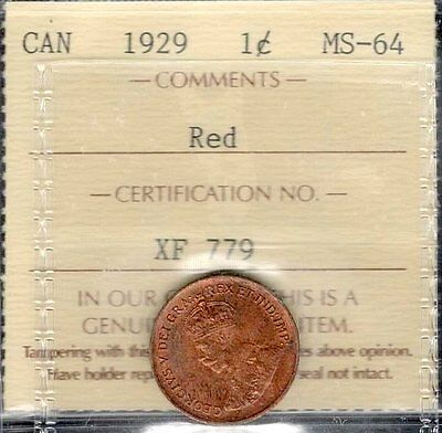 1929 Small Cent ICCS Certified MS-64 RED George V BEAUTIFUL Graded Canada Penny